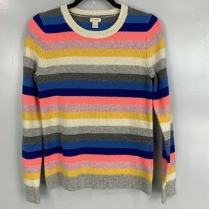 J Crew Factory Rainbow Striped Teddie Sweater